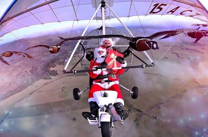 Santa fly wiht geese